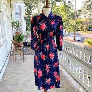 Vintage Red & Blue Tulip Print Collared Dress